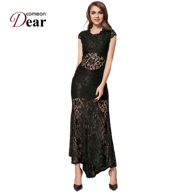 4564ea707d63 Comeondear Black Lace Bodycon Backless Party Gown Abito Donna Lungo  Elegante Beautiful Cheap Dresses VB1065 Dress Party 2018