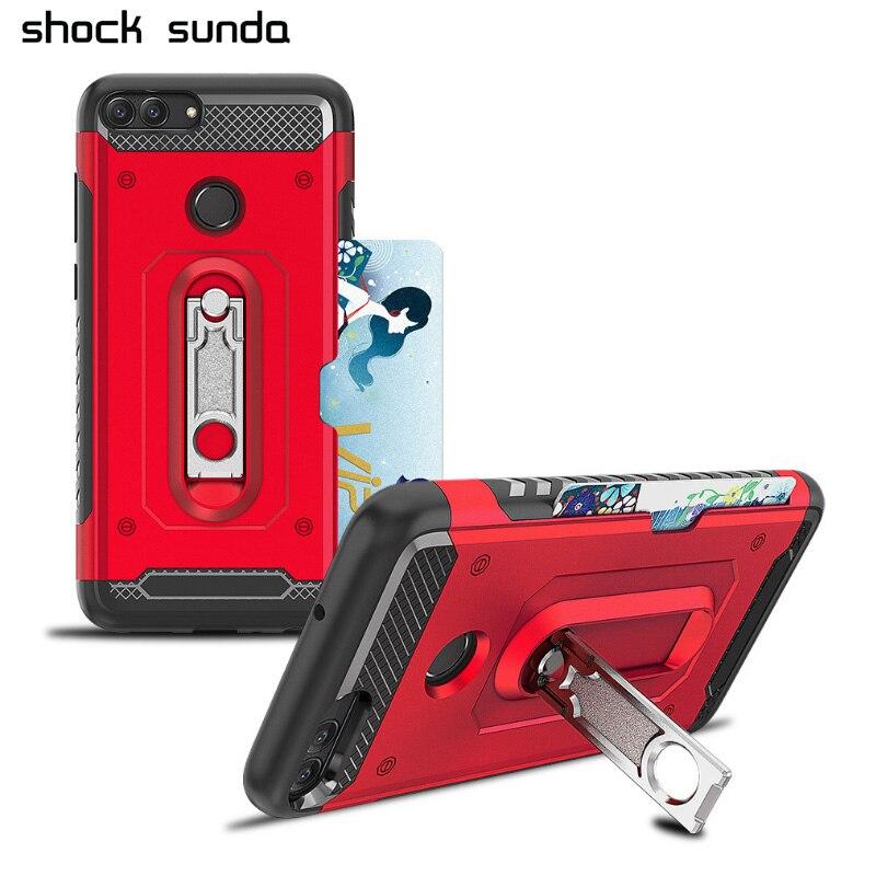 Shockproof Case Funda Card-Holder Hard-Armor Metal Kickstand Huawei P Smart/enjoy 360