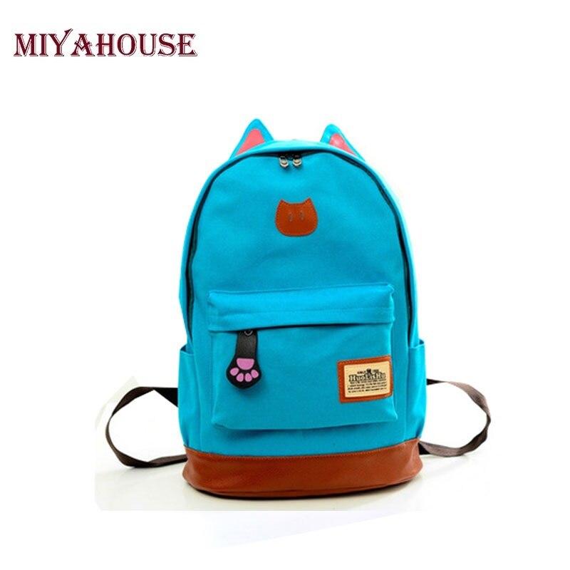 все цены на Miyahouse Canvas Backpack Women Casual School Backpacks For Teenage Girls Cartoon Women Bag Cute Cat Ear Children Backpack онлайн