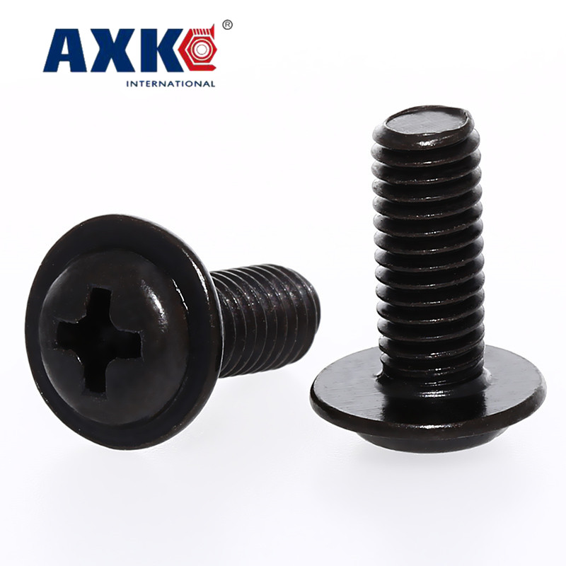 US $5.47 |AXK  100PCS  M4  PWM black zinc cross round head with pad screw black pan head with meson computer chassis screw|Screws| |  - AliExpress