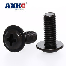 AXK  100PCS M4 PWM black zinc cross round head with pad screw pan meson computer chassis