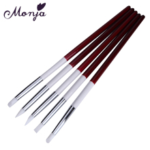 Monja 5pcs/set Nail Art Acrylic UV Gel Silicone Sculpture Carving Emboss Modeling Dotting Pen Brush Manicure Tool