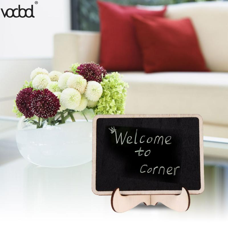 12pcs/set DIY Assembled Mini Blackboard Wooden Message Black Board Wedding Party Labels Wood Chalkboard Office School Supplies
