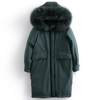 Thickening Winter Down Jacket Women Real Raccoon Fur Collar Hooded Long Outerwear Female Parkas 2019 Fashion Womens Down Coats