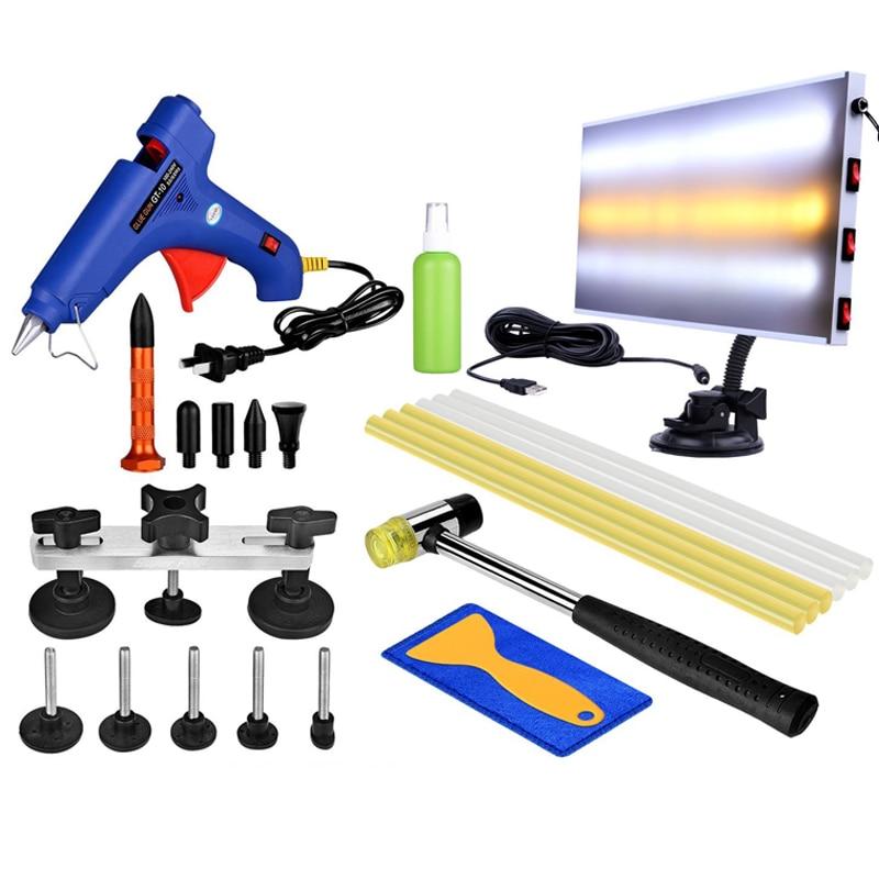 New Led Lamp !! PDR Tools Kit Dent Removal Car Dent Repair Paintless Dent Repair Dent Puller Bridge Puller Glue Gun Hammer Tools