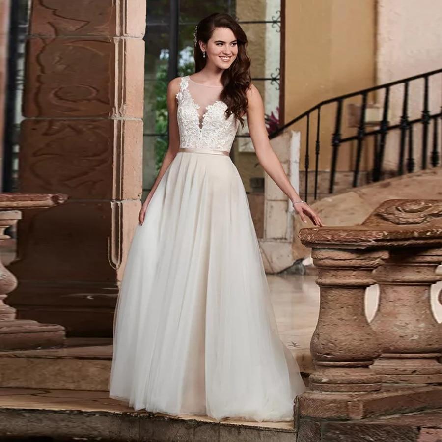 Illusion V-Neck Lace Applique On Bodice Wedding Dress Satin Belt Sheer Back With Button Champagne Dark Bridal Dress
