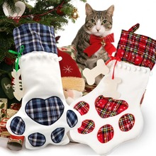 OurWarm 20pcs Red Blue Plaid Pet Dogs Paw Christmas Stockings Kids Gift Bags Party Decoration New Year 2019 46x28cm