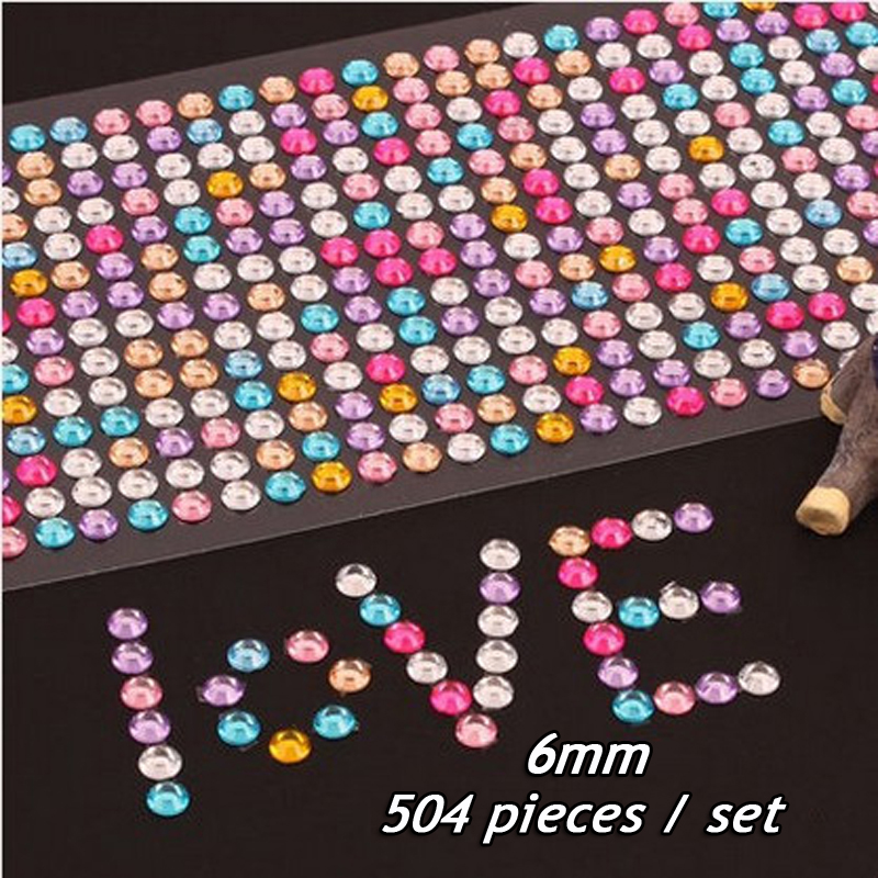 504 pieces / lot Diy album accessories diamond sticker couple baby album accessories stickers body paste mobile phone stickers