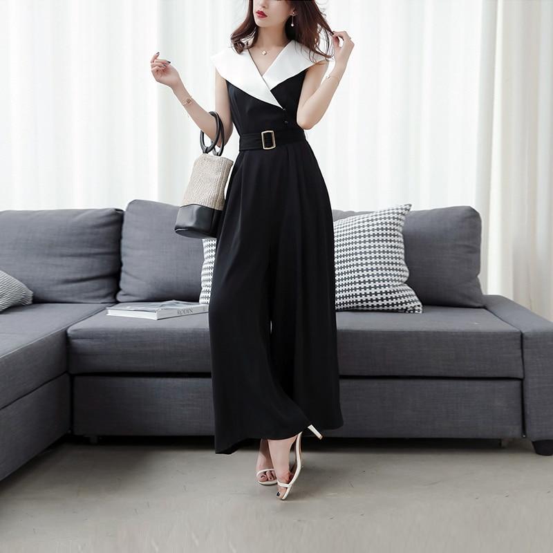 new summer ladies fashion temperament slim wide leg jumpsuit sexy sleeveless high waist elegant work style long pant jumpsuit