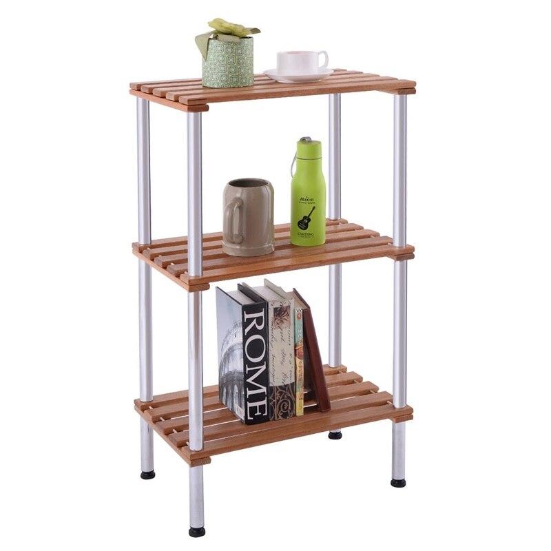 3-Tier en bois latte stockage Rack présentoir étagères en acier inoxydable Non-pliage supports divers livres titulaire maison organisateur HW54111