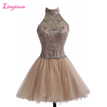 Linyixun Real Photo Champange Short Cocktail Dresses 2017 Ball Gown Prom Dresses Halter Sleeveless Organza Homecoming Dresses