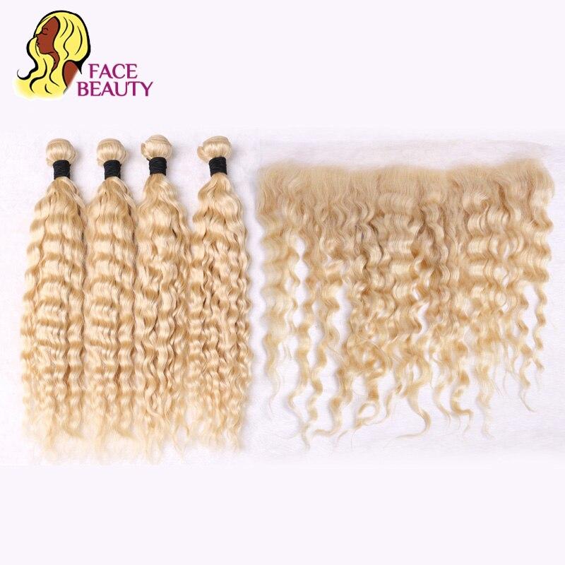 Facebeauty 613 блондинка Цвет бразильский человеческих волос утка глубокий вьющиеся 4 Связки с 13x4 уха до уха швейцарский шнурок Фронтальная засте...