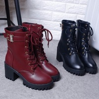 Free Shipping Women Boots Vintage England Lace Up Boots Chunky Heel Martin Boots Fashion Footwear Boots