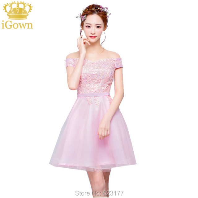 iGown Bridesmaid Dresses V neck Cap Sleeves Gray/Pink Color Short ...