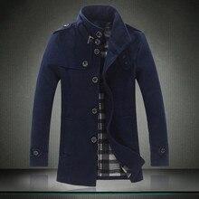 Größe S-5XL 2016 männer boutique verdickung warmen wollstoff mantel/Männliche reine farbe einreiher graben mantel/männer jacke mantel