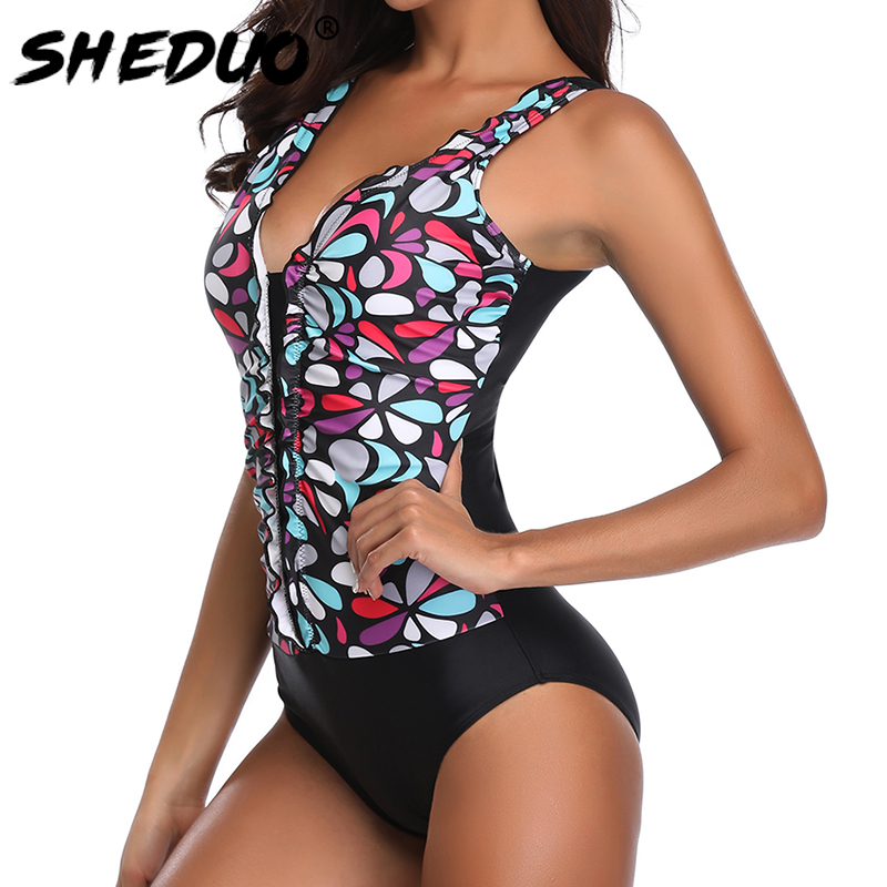 One piece Women Swimwear Plus Size Beach Body suit For Ladies Ruffle Floral Backless Monokini Swimsuit 2019 Sexy 5xl-4