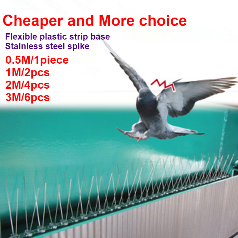 0.5M/1M/2M/3M/5M Stainless Steel Pigeon Swallow Sparrow Bird Spikes Defender Anti Bird Gone With Flexible Plastic Base Strips