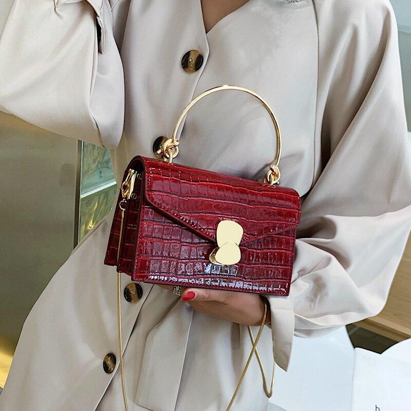 Teste padrão de pedra couro do plutônio crossbody sacos para as mulheres 2019 mini ombro mensageiro saco com alça de metal senhora viagem totes