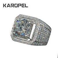Karopel Micro Pflastern CZ Hochzeit Ringe Engagement Hip Hop Bling Runde Form Kühlen Straße Männer Bling Iced Out CZ Ring