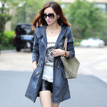 New 2015 Women's Hooded Slim Denim Trench Coats Fashion Autumn Plus Size Jeans Coats Ladies Long Trench Overcoat Outerwear H4678