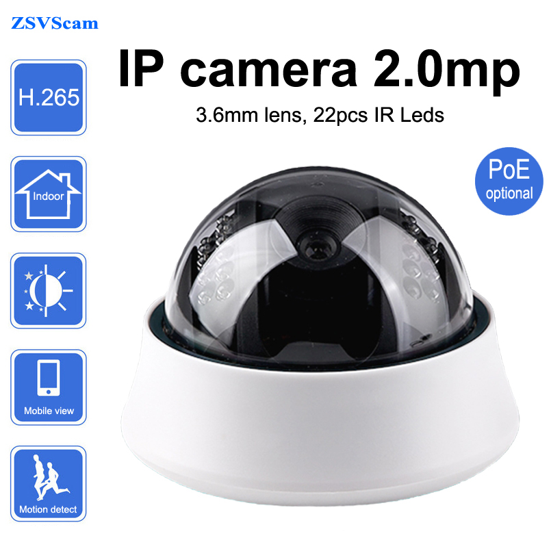 H.265 PoE Dome Onvif p2p IP camera 2.0mp Indoor day night 3.6mm lens network surveillance security camera with motion sensor multi language ip camera 4mp bullet security camera with poe network camera video surveillance 2 8 12mm zoom lens h 265 h 264