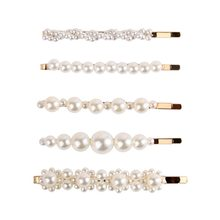 Mecresh 5pcs/set Simulated Pearl Hair Pins for Women Hair Clips Girls Hairpins Barrette Bobby Hairgrip Hair Accessories FJ003(China)