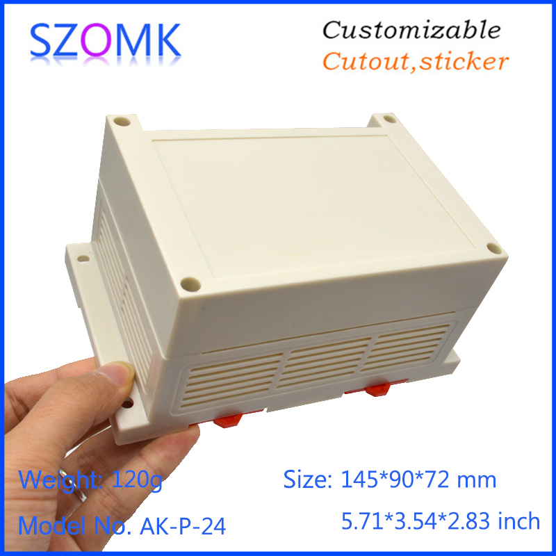 10 pcs, 145*80*72mm plastic din rail box electronics plastic control enclosure housing case szomk diy PLC distribution box