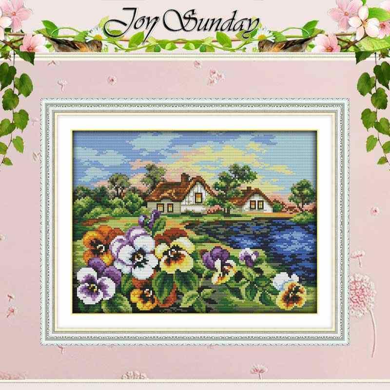 Домашний город Панси Счетный крест 11CT 14CT набор крестиков оптом DIY Набор для вышивания крестиком