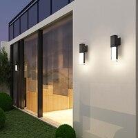 Garden nordic light led outdoor waterproof grey black wall lamp modern transparent minimalist creative exterior villa balcony