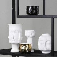 Ceramic face model vase, creative Nordic art crafts, home desk decoration, modern flowers