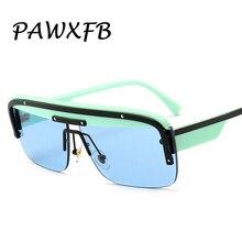 PAWXFB 2019 Luxury Italy Brand Designer Square Sunglasses Men Women Retro Rimless Blue Sun Glasses Female Gafas de Sol