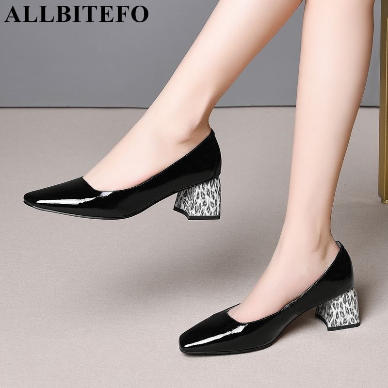 ALLBITEFO Leopard Print Heel Genuine Leather Square Toe Thick Heel Women Shoes Women High Heel Shoes Office Ladies Shoes