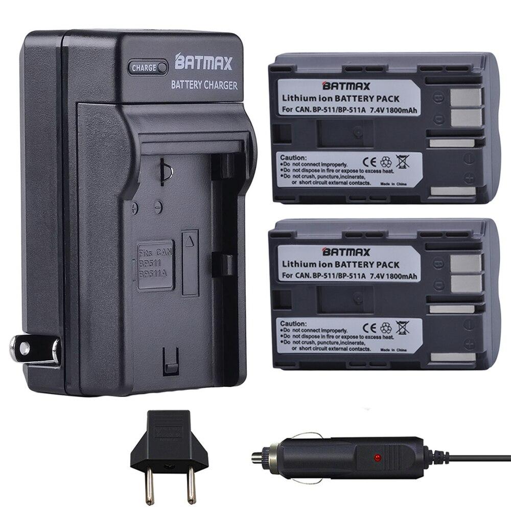 2Pcs BP-511 BP511 BP 511 BP-511A Batteries & Charger for Canon G6 G5 G3 G2 G1 EOS 300D 50D 40D 30D 20D 5D MV300i Digital Camera bp 511 bp511 camera battery 1x charger for canon eos 30d 20d 10d 300d d60