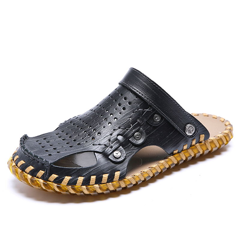 LAISUMK Brand Genuine Leather Summer Soft Male Sandals Shoes For Men Breathable Light Beach Casual Quality Walking Sandal 2018