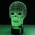 7 cores ilusão 3D esqueleto fluorescente lâmpada de luz Da noite Da Novidade para o presente
