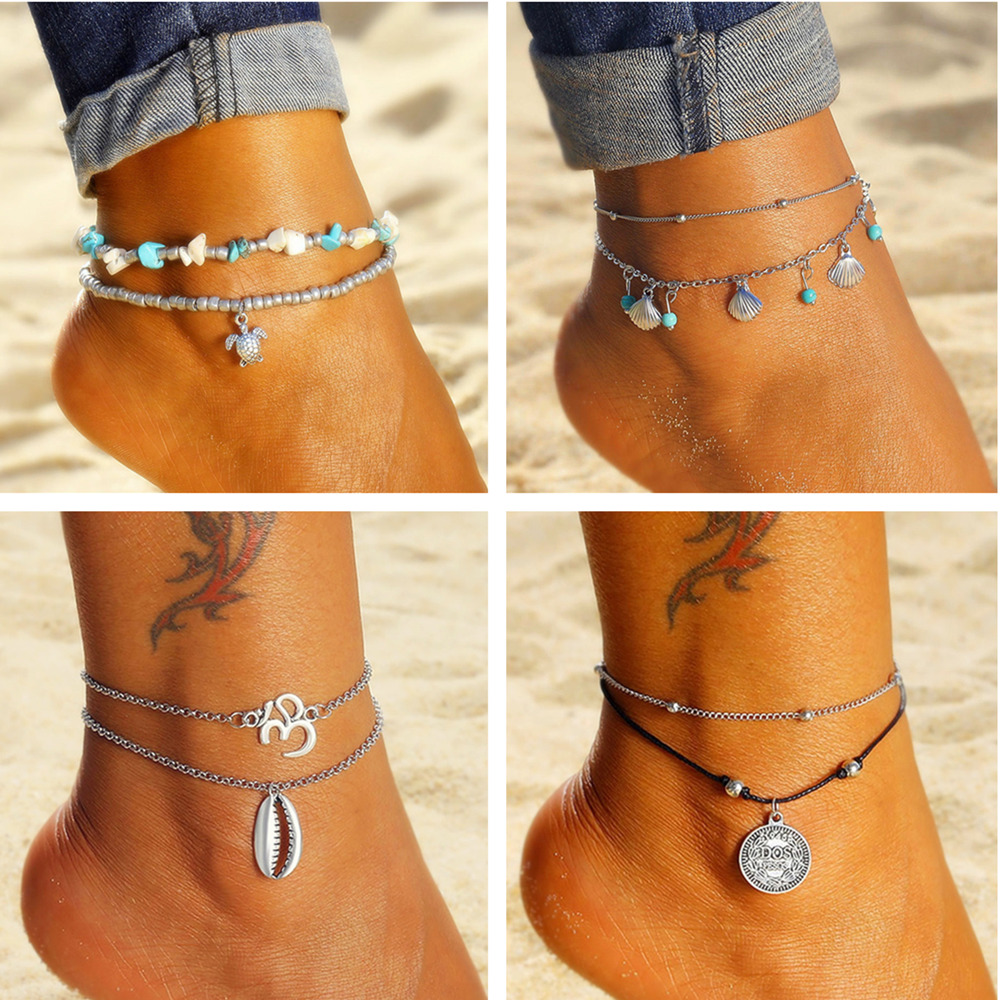 Bohemian Multilayered Heart Pendant Anklets For Women Vintage Turtle Stone Beads Shell Anklet Bracelet On Leg Boho Ocean Jewelry