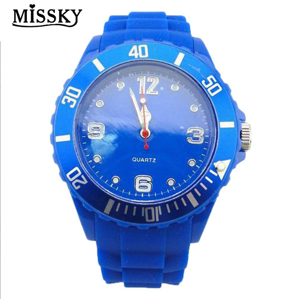 MISSKY Kids Boy's Blue Silicone Watches 2018 Fashion Students Colourful Sports Quartz Gift Children's Dial Wristwatches SAN0