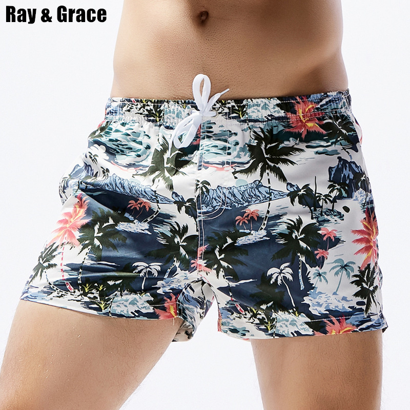 RAY GRACE Beach Surf   Board     Shorts   Men Summer Quick Dry Water Sports   Shorts   Elastic Waist Floral Plant Prited Swim   Shorts   Male