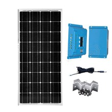 Kit Solar Panneau Solaire 12v 100w PWM Regulator Solar Charge Controller 12V/24v 10A Z Bracket Solar System For Home Motorhome solar voltage regulator for home system use it4415nd 12v 24v 36v 48v automatic work bluetooth function for connect app mt50 45a