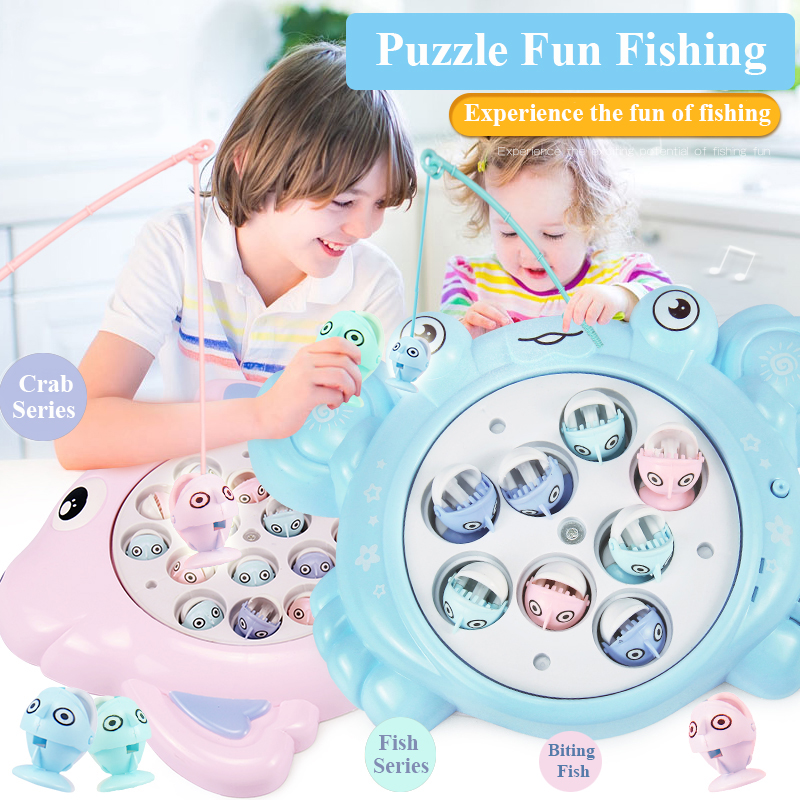 Infant Shining Children Fishing Pool Toy Magnetic Electric Rotation Toy Fish And Crab Style Fishing Toy Boys & Girls Puzzle Toy