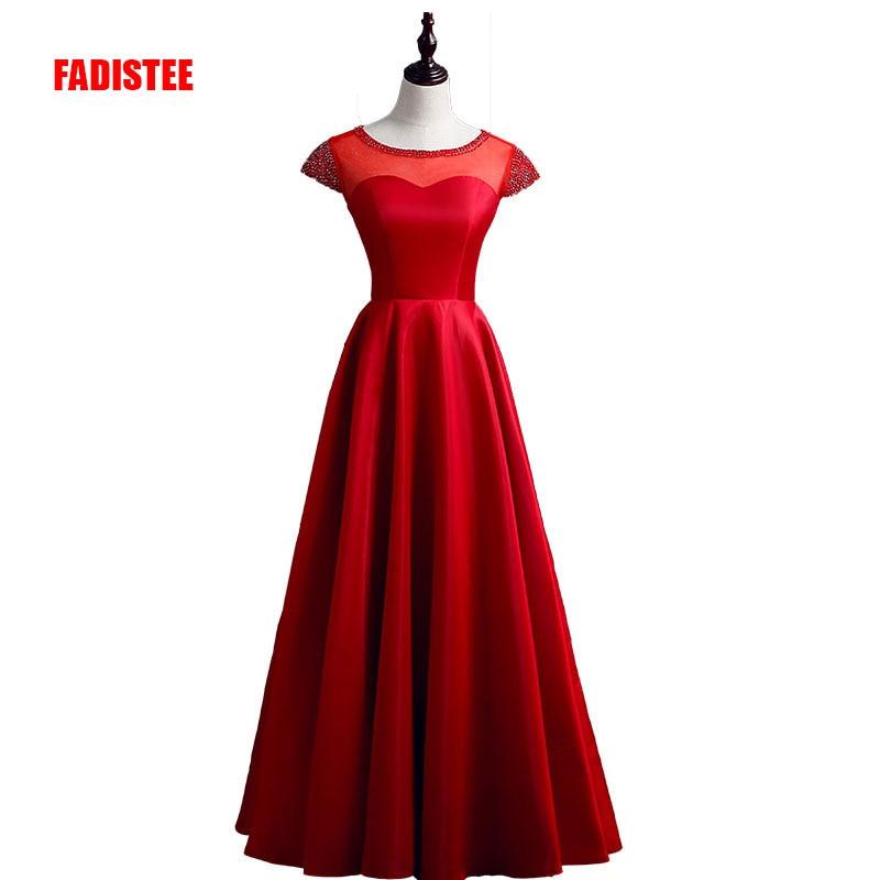 FADISTEE New arrival prom party dresses Vestido de Festa beading dress elegant lace-up style crystal cap sleeves dress
