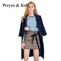 Weyes & Kelf Ciemny Niebieski Trzy Czwarte Kobiet Okopu Płaszcze 2017 jesień Moda Powodują Slim Zipper Solidna Długi Płaszcz Kobiet płaszcz