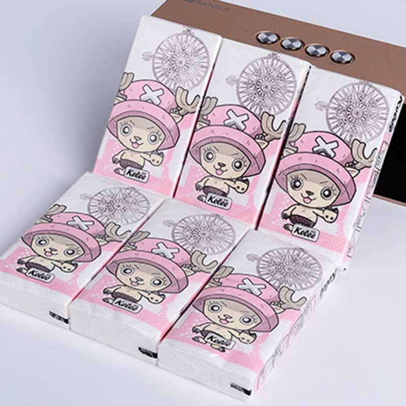 Ynaayu 10pcs/bag Mini Paper Napkins Cartoon Tissue Paper 100% Wood Big Mouth Napkin Paper For Kids Birthday Party Supply