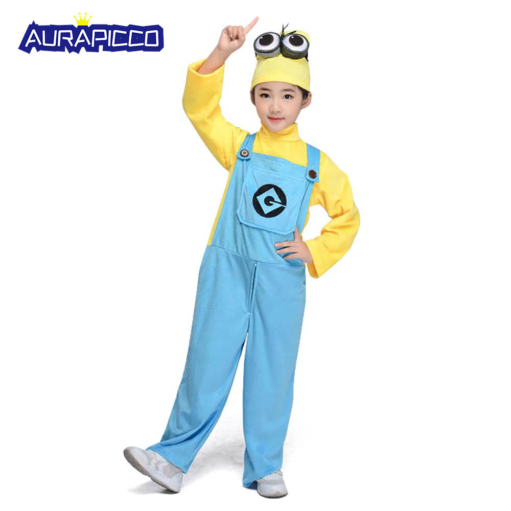 Deluxe Child Minion Costume Warm Fleece Overalls Toddlers Yellow Blue Cartoon Jumpsuit Pajamas Halloween Fancy Dress