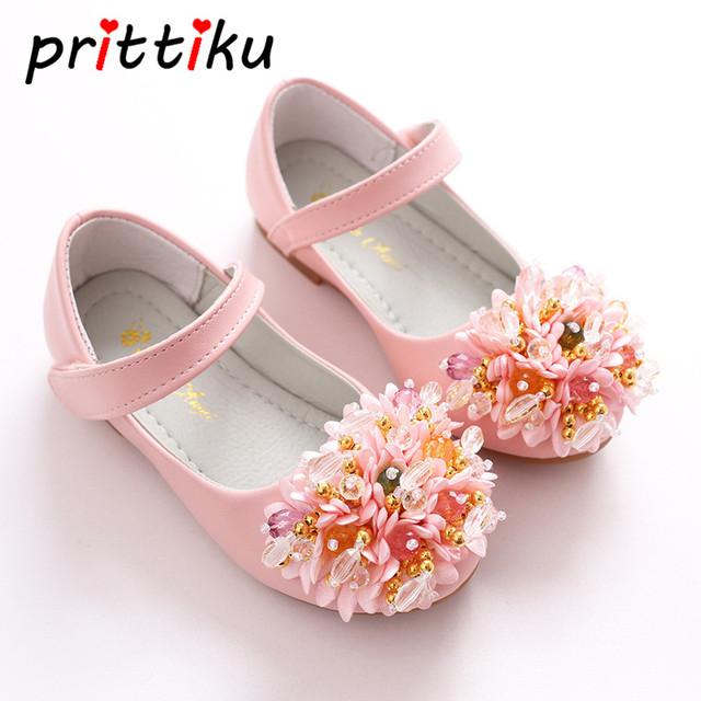 c3e90d96948c 2018 Toddler Girl Genuine Leather Flats Little Kid Flower Dance Party  Wedding Loafers Big Children School Mary Jane Dress Shoes