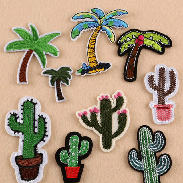 Iron On Patches Sew On Applique Cute Coconut Tree Cactus Embroidery