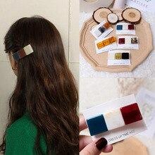 Korea Fashion Hit Color Resin Hair Accessories Hairpins Geometric Square Clips Headband for Women Girls Hairgrip Headwear
