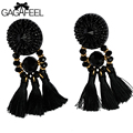 GAGAFEEL Bohemia Earring Black Tassel Statement Dangle Earrings For Women Elegant Crystal Jewelry Accessories Girlfriend Gift