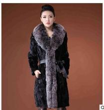 S/3Xl Women Long Section  Faux Mink Fur Coats Female Winter Large Rabbit Fur Collar Casual  Warm Overcoats Female Jackets J1401