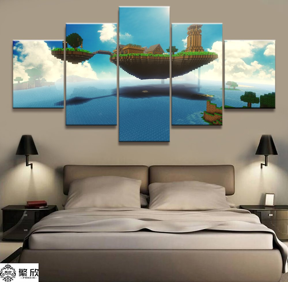 US $5 76 52% OFF|5 Panel Minecraft Game Canvas Printed Painting For Living  Room Wall Art Home Decor HD Picture Artwork Modern Poster-in Painting &